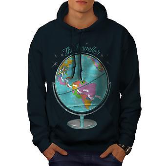 Глобус NavyHoodie мужчины путешественник   Wellcoda