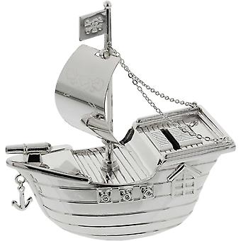 Bambino Silver Plated Money Box Pirate Ship