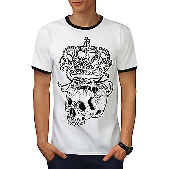 Skeleton Rock mannen witte kroon / BlackRinger T-shirt | Wellcoda