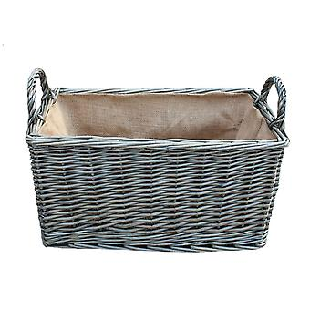 Large Antique Wash Rectangular Hessian Lined Wicker Basket