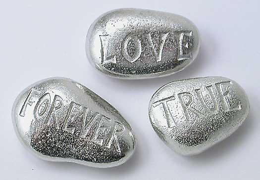 Love Forever True - Pewter Pebbles (Set of 3)