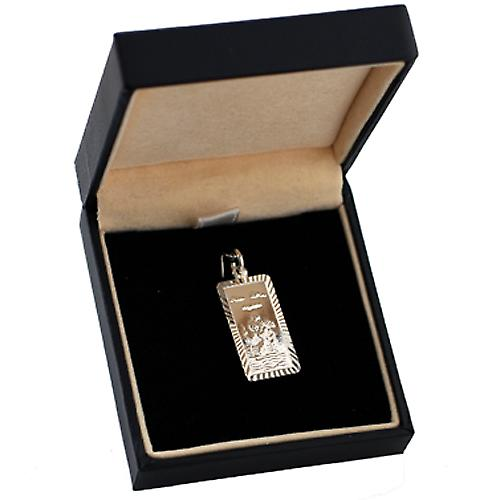 Silver 26x13mm rectangular diamond cut edge St Christopher Pendant