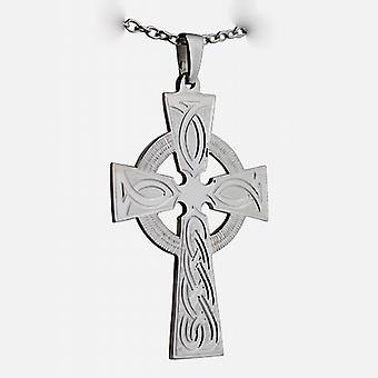 Silver 50x36mm hand engraved knot pattern Celtic Cross with a cable Chain 24 inches