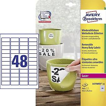Avery-Zweckform L4778REV-20 Labels (A4) 45.7 x 21.2 mm Polyester film White 960 pc(s) Removable Address labels, Weatherp