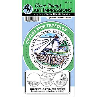 Art Impressions Circlet Mini TryFolds Stamp & Die Set-Lighthouse 4979