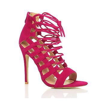 Ajvani damskie wysoki obcas strappy zasznurować zip wyciąć ghillie sandały buty