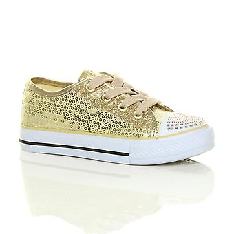 Ajvani girls flat glitter lace up plimsolls trainers sneakers