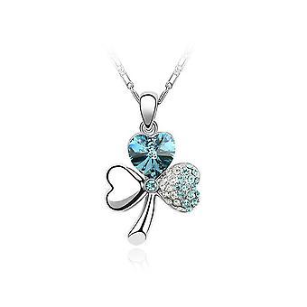Clover pendant with 3 leaves adorned of crystal blue sky of Swarovski