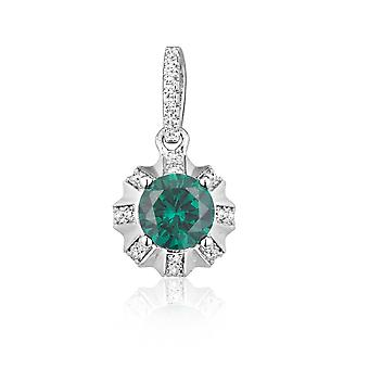 Pendant in silver Sun and 40 crystals Swarovski Cubic Zirconia white and green
