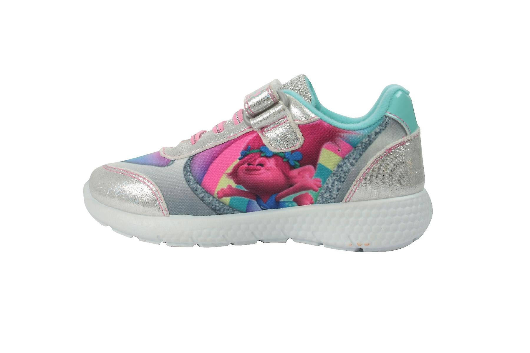 Girls Trolls Silver Glitter Sports & Canvas Trainers Shoes Hook & Sports Loop UK Sizes 6 - 12 4875cf