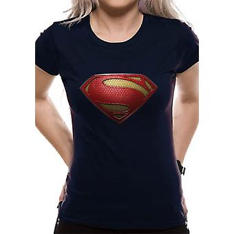 Superman Man Of Steel - Textured Logo (Fitted)  T-Shirt