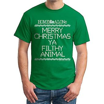 Home Alone Filthy Crosstitch Men's Kelly Green T-shirt