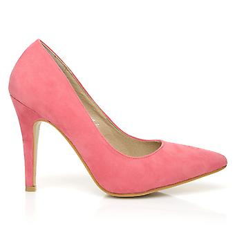 DARCY Coral Faux Suede Stilleto High Heel Pointed Court Shoes