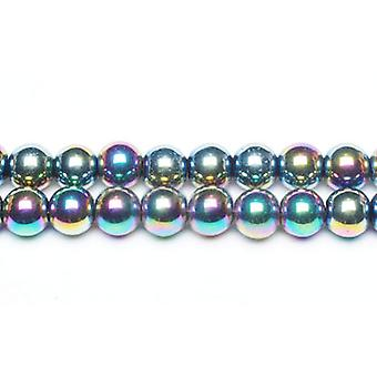 Packet 10 x Rainbow Hematite (Non Magnetic) 6mm Plain Round Beads VP1750