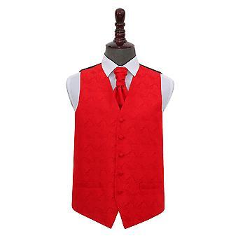 Colete de casamento vermelho Paisley & Cravat conjunto
