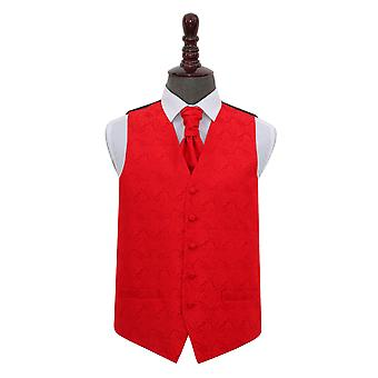 Rot Paisley Hochzeit Weste & Krawatte Set