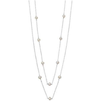 Beginnings Freshwater Pearl Station Necklace - White/Silver