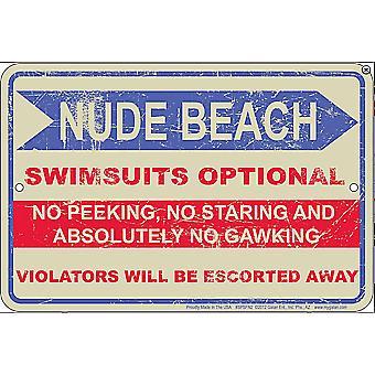 Letrero de Metal repujado Nude Beach