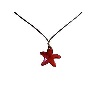 Gemshine - ladies - necklace - pendants - Starfish - * red magma * - red - gold plated - MADE WITH SWAROVSKI ELEMENTS® - 45 cm