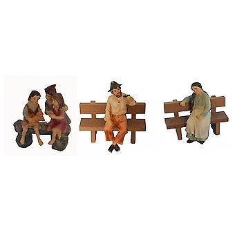 3-delige Nativity beeldjes. Polyresin Nativity scene cijfers 11 cm set van 3 set opa oma kinderen instellen