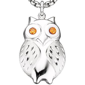 Necklace OWL rhodium plated 925 sterling silver 2 cubic zirconia matte orange