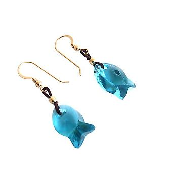 Fish Blue-Green MICHELE earrings gold plated pendant crystal element