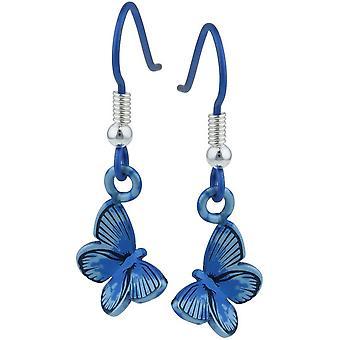Ti2 Titanium bos middellange vlinder Drop Oorbellen - blauw