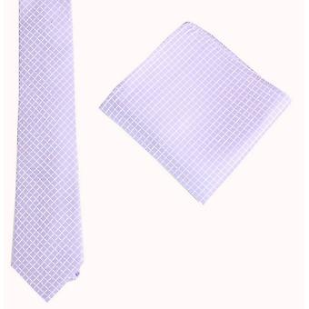 Knightsbridge Neckwear Check Tie and Pocket Square set - Purple