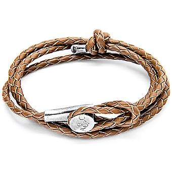 Anchor and Crew Dundee Silver and Leather Bracelet - Light Brown