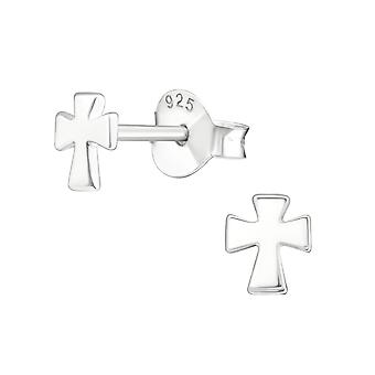 Cross - 925 Sterling Silver Plain Ear Studs - W18826x