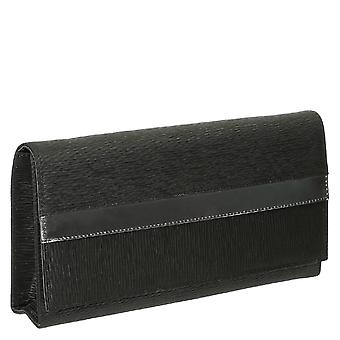 Leonardo Shoes women's cerimonial handbags in black leather and satin