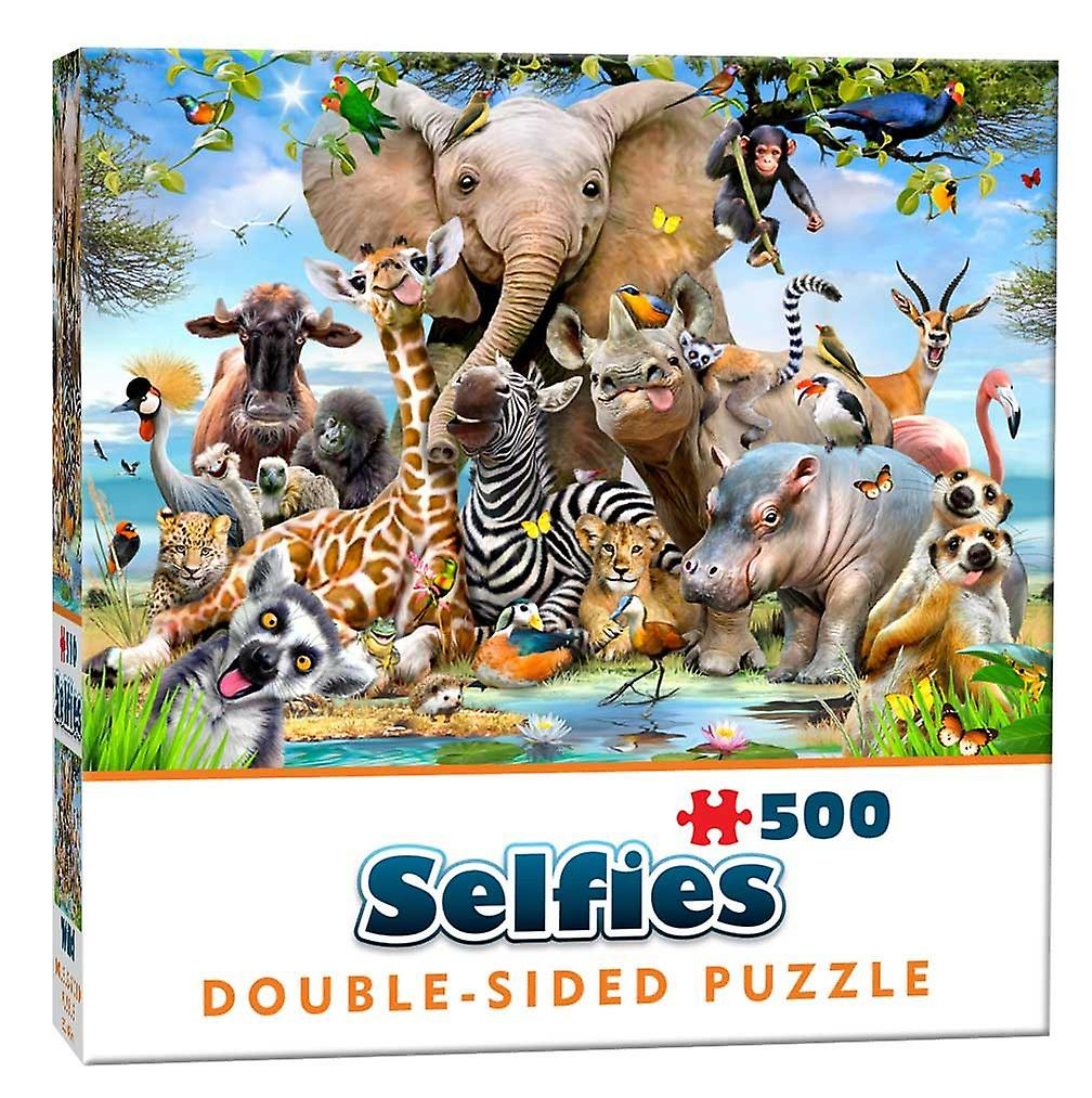 Wild Animals Selfie Double-Sided  Jigsaw Puzzle (500 Pieces)