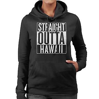 White Text Straight Outta Hawaii US States Women's Hooded Sweatshirt