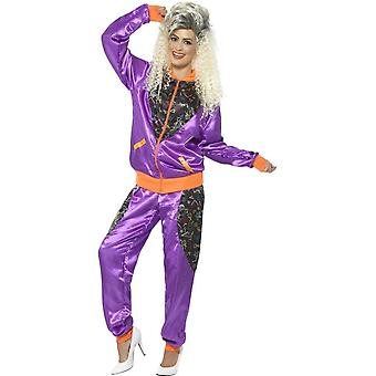 Retro Shell Suit Costume, Ladies, Purple, with Jacket & Trousers