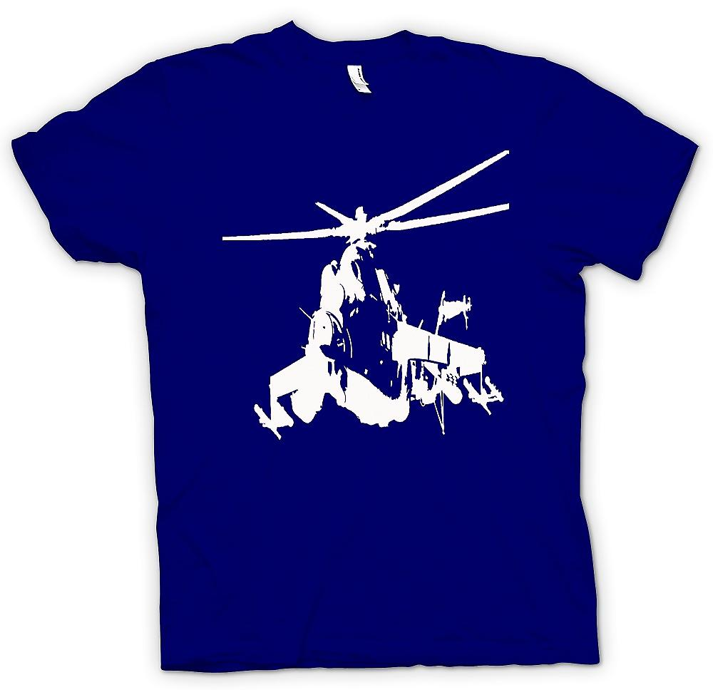 Mens t-shirt-MI-24 HIND Attack Helicopter