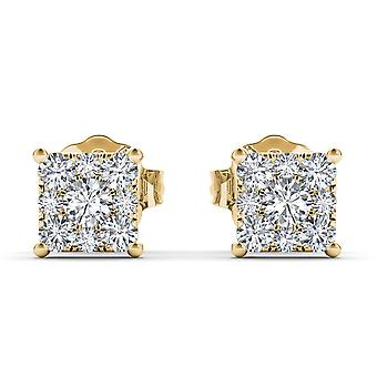 IGI certifierade fast 10k Yellow Gold 0.50 Ct diamant Stud örhängen Pushbacks