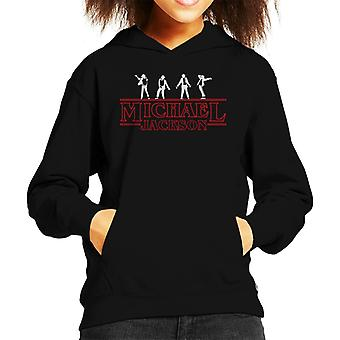 Michael Jackson Stranger Things Font Kid's Hooded Sweatshirt
