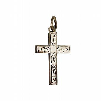 9ct Gold 20x12mm de hand gegraveerd massief blok Cross