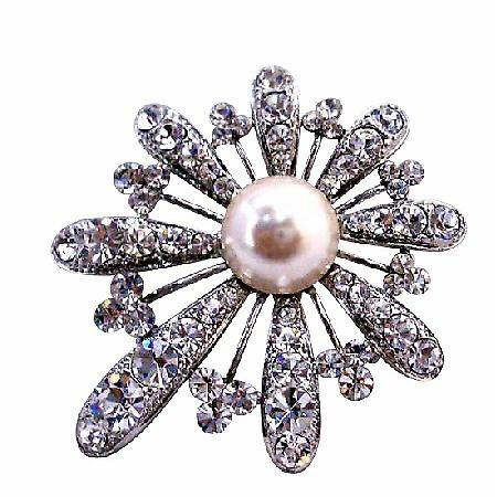 Classically Shaped Fan Flower Brooch Fully Embedded w/ Rhinestones & Pearls At Center