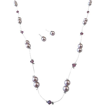 Swarovski Lilac Pearls Amethyst Crystals In Silk Thread Necklace Set