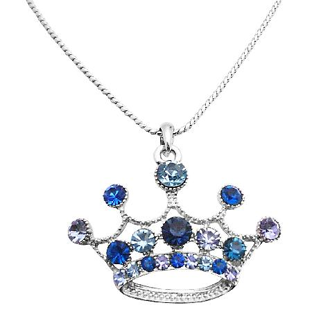 Crown Pendant Necklace Lite & Dark Blue Crown Designed Necklace
