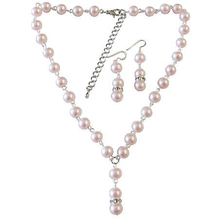 Bridemaids Jewelry Affordable Under $20 Pink Pearl Wedding Jewelry Beautiful Fashionable Inexpensvie Drop Down Necklace Customize Pearl Set