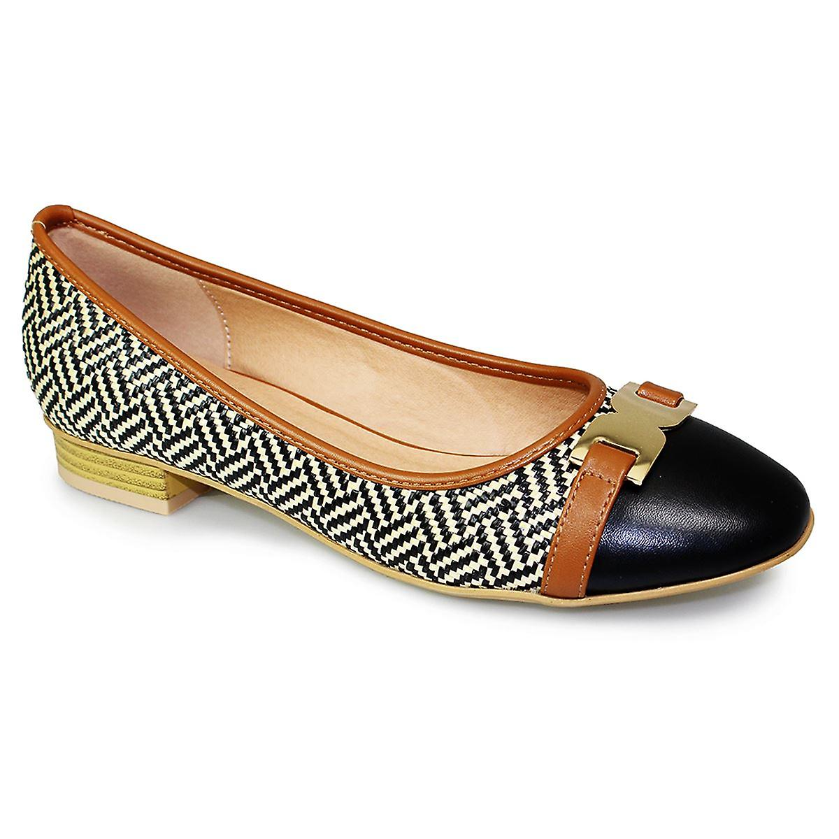 Ladies Interweave Low Heel Slip On Gold Buckle Two Tone Pumps Flats Shoes