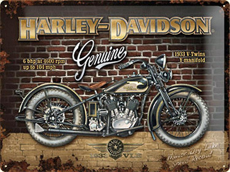 Harley Davidson Genuine (brick wall) large embossed steel sign   3040na
