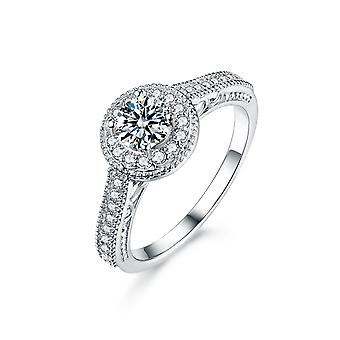 925 Sterling Silver Vintage Round Halo Accent Engagement Ring