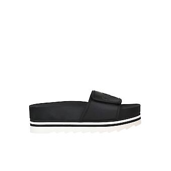 Guess Black Fabric Slippers