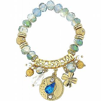 Park Lane Goldtone & Opalescent Beads & Hanging Charms Elasticated Bracelet