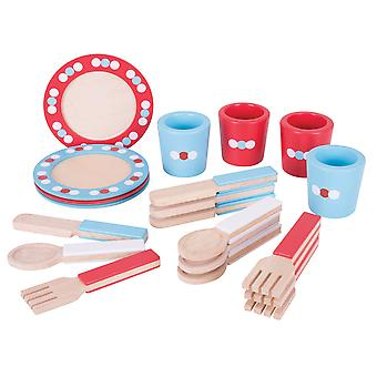 Bigjigs Toys Wooden Dinner Service Playset Pretend Play Food Roleplay