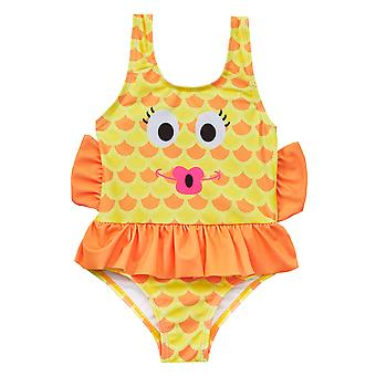 Girls yellow and orange novelty fish swimming costume