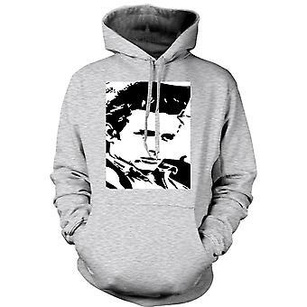 Dame hættetrøje - James Dean portræt - ikon - BW